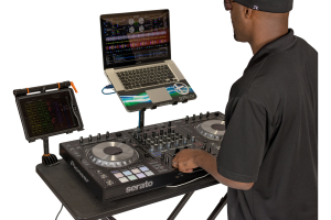 Laptop pad featuring dj gear on the fastset table