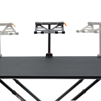 Fast-Attach Laptop Stand showing three table positions on dj table