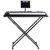 Fast-Attach Laptop Tray with gear and a front view of the musicians table