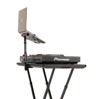 Fast-Attach Laptop Stand with gear with a side view
