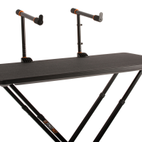 Two Tier Arms mounted to the fastset table in the center with a front view