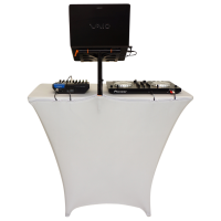 Fastset DJ Table with dj gear and white scrim
