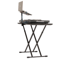 Laptop Stand mounted to the fastset table with a DJ setup