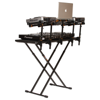 Master DJ table with gear shown at an angle
